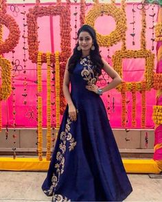 Laadesar Tridha Choudhury In Kalki Navy Blue Gown Adorn In Zari And Sequin In Floral Call or Whatsapp on or visit insta page WOMN CLOTHING. we are designer studio specialized in custom designer dresses. No CASH ON DELIVERY, worldwide delivery. Indian Wedding Gowns, Indian Gowns Dresses, Indian Outfits, Designer Gowns, Indian Designer Wear, Designer Anarkali, Long Gown Dress, Long Gowns, Party Kleidung
