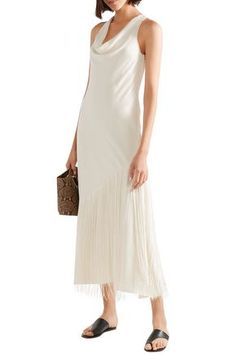 ELIZABETH AND JAMES ELIZABETH AND JAMES WOMAN TAJ FRINGED DRAPED CREPE DE CHINE MIDI DRESS OFF-WHITE. #elizabethandjames #cloth