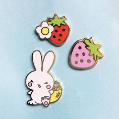New pins added to the shop! Strawberry set and Bunny www.winkpins.com