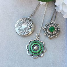 Silver and green spring tones. All pictured are for sale #necklace #silvernecklace #vintage #vintagejewellery #vintagejewelry #antique #antiquejewellery #antiquejewelry #sterlingsilver #enamel #paste #artdeco #artdecojewelry #artdecojewellery #artdeconecklace #silver #pearl #jewellery #jewelry #jotd #jewelleryoftheday #beautiful #treat #treasure #love #spring #spoilyourself #green