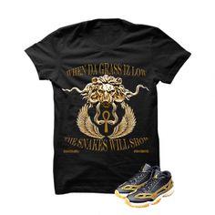 When Da Grass Iz Low (Gold) Black T-Shirt. SACRED SOCIETE