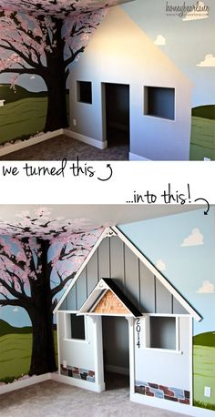 Walk-in closet turned into adorable playhouse with some building materials, great painting and some imagination.