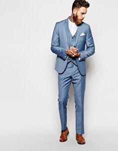 ASOS - Veste de costume cintrée - Bleu