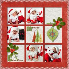 """Sweet """"Merry Christmas"""" Grid Style Scrapbooking Layout...Smiley-Scrap8 - A Cherry On Top."""