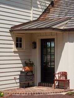 metal awning Exterior Traditional with entrance entry front door grass hedge lamp Front Door Overhang, Front Door Awning, Porch Awning, Metal Awning, Porch Roof, Shed Roof, Porch Canopy, Window Awnings, Door Canopy