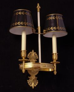 Marvin Alexander,Inc. EMPIRE Style gilded bronze two light sconce with painted tole shades Let Your Light Shine, Light Up, English Country Style, Empire Style, Gorgeous Fabrics, Sconce Lighting, Candelabra, Interior Design Inspiration, Light Fixtures