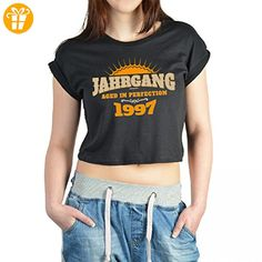 Jahrgang Shirt für Frauen - 1997 Aged in Perfection - Crop-Top mit Motiv als Geschenk zum Geburtstag in Schwarz, Größe:M (*Partner-Link)
