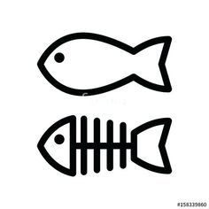 cartoon fish outline fish and skeleton simple vector icon black and white illustration of fish bones outline cartoon fish patterns
