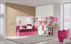 Dielle White Based Kids Rooms with Colorful Furniture : Girly White Based Kids Room with Large Builtin Closet Above the Bed and Unique Pink Chair