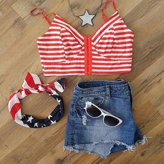 Stripe Crop w/ Headband This red & white crop is adorable with rugged jeans or worn underneath a peak a boo top.  Included in this purchase is an All American headband! Forever 21 Tops Crop Tops