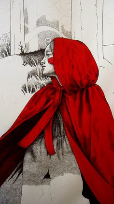 Little Red Riding Hood There was no artist credit given on this; if you know who the artist is, please comment so that I can add the artist's name. Red Ridding Hood, Big Bad Wolf, Red Hood, Art Plastique, Little Red, Book Illustration, Alice In Wonderland, Fantasy Art, Fairy Tales