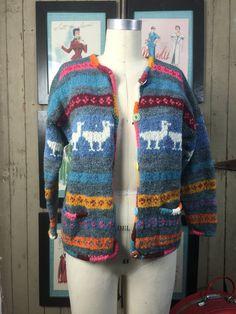 1980s wool cardigan 80s Amano sweater size medium large Vintage novelty print sweater southwestern cardigan by melsvanity on Etsy
