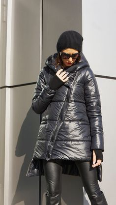 NEW Winter 2016 Asymmetric Quilted Black Hooded Extra Warm