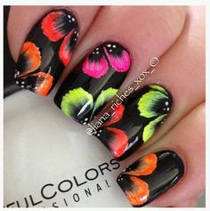 Neon flowers on black nails
