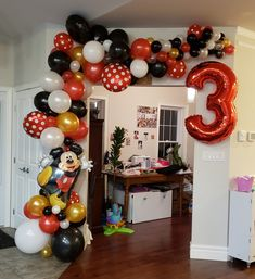 Awesome balloon garland, custom made for the event. Mickey Mouse Party Decorations, Mickey Mouse Birthday Decorations, Mickey 1st Birthdays, Mickey Mouse Balloons, Mickey Mouse First Birthday, Theme Mickey, Mickey Mouse Clubhouse Birthday Party, Mickey Mouse Parties, Elmo Party