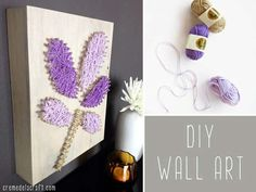 DIY Purple Room Decor - DIY Yarn + Nails Wall - Best Bedroom Ideas and Projects in Purple - Cool Accessories, Crafts, Wall Art, Lamps, Rugs, Pillows for Adults, Teen and Girls Room http://diyprojectsforteens.com/diy-room-decor-purple