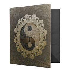Tree of Life in Yin Yang in Tan Colors Binder