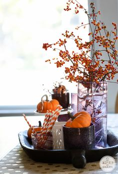 Purple and Orange Fall Centerpiece.