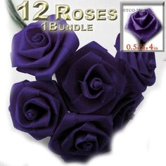 One Bundle 12 Handmade Folded ribbon Roses 050inch wide rose 4inch long wire stem Purple -- Check this awesome product by going to the link at the image.
