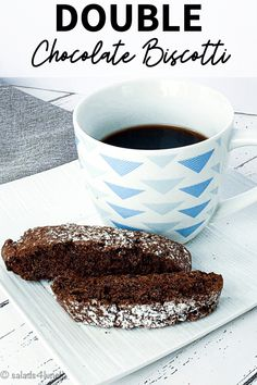 An easy Double Chocolate Biscotti Recipe that is perfect to serve with coffee or share as gifts during the holidays. | Chocolate Biscotti | Double Chocolate Biscotti | Biscotti Recipe | Valentine's Day Recipe Chocolate Color, Chocolate Flavors, Double Chocolate Biscotti Recipe, Delicious Desserts, Dessert Recipes, Shaped Cookie, Unsweetened Cocoa, Salted Butter, Vegetarian Chocolate