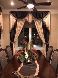 Window Treatments Living Room, Custom Window Treatments, Elegant Curtains, Beautiful Curtains, Home Curtains, Window Curtains, Layered Curtains, Curtain Designs, Victorian Homes