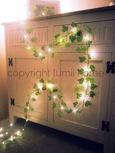 Green Ivy leaf garland 2m with mini led fairy string lights stunning wedding decoration, christmas, woodland, enchanted forest