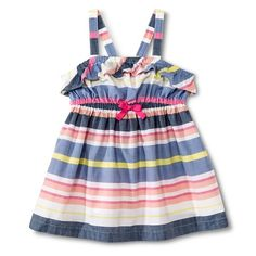 Toddler Girls' Striped Chambray Flounce Dress - Fresh White