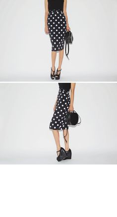 Retro Polka Dotted Pencil Skirt