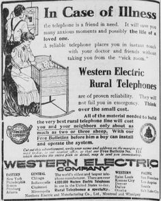 "~ Sausalito News, April 17, 1909via California Digital Newspaper Collection""All of the material needed to build the very best rural telephone line will cost you and your neighbors only about as much as two or three sheep."" See: http://pinterest.com/pin/287386019944677201/"