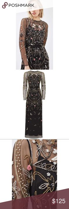 TOPSHOP Sheer Black Floral Beaded Maxi Gown New Without Tags TOPSHOP Sheer Black Floral Embroidered Beaded Maxi Gown  US Size 4 Incorporate the ongoing embroidery trend when going for a dressed-up look.  This maxi dress comes in stunning all-over embellishment for a totally unique yet luxe look.  100% Nylon.  Machine wash. Colour: BLACK Retail $298.00 Sold Out In All Stores And Online This Dress Is Gorgeous For Any Special Event! Please Review All Photos Prior To Purchase All Sales Are…