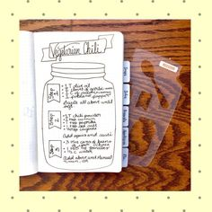 Want to make an entire journal filled with recipes? This mason jar stencil is perfect for just that. #recipejournal #bulletjournal