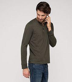 Langarmshirt aus Bio-Baumwolle in der Farbe dunkelgrün-melange bei C&A