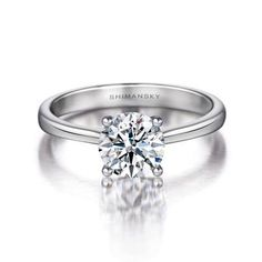 """The Shimansky """"I DO"""" engagement ring is a beautiful round brilliant cut solitaire diamond ring that has endless style and elegance."""
