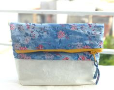 Foldover Clutch  Denim Canvas Travel Cosmetic Bag  by KambBoutique