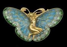 Lalique  Butterfly Nymph Brooch | Antique Glass Vintage Art