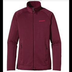 Patagonia R1 full zip fleece in Oxblood small Woman's size small, polartec jacket great for layering over a tank top or tshirt, designed for insulating the body.Description: Patagonia R1 Full-Zip Jacket - Womens This highly breathable midlayer also features Polygiene permanent odor control technology and is bluesign approved.  Fabrics/Materials: 6.3 oz Polartec Power Grid 93% al-recycled polyester, 7% spandex with Polygiene permanent odor control. Fabric is bluesign approved. Breathability…