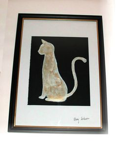 Cat Painting Watercolour and Acrylic Original Craft with Frame A4 http://stores.ebay.co.uk/magzeben/