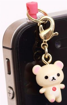 white walking bear Rilakkuma mobile phone plug jack charm