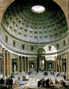 The interior of the Pantheon, Rome- Giovanni Paolo Panini.