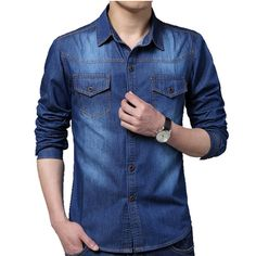 Mens Blue Fit Large Size Casual Washed Denim Long Sleeve Shirt is such an amazing attire which when one wears distinguish him apart from the rest. #tshirt #poloshirt #businessshirt #casualshirt #Menshirt #menfashion