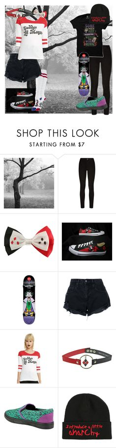 """""""be the Harley for my Joker"""" by imrenthealien ❤ liked on Polyvore featuring Paige Denim, DC Comics, Converse, Nobody Denim and Hot Topic"""