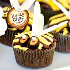 We have made these bumble bee cakes in miniature paper cups, because there is always so much wastage when children take only one bite! Bumble Bee Cake, Bee Cakes, Fairy Cakes, Paper Cups, First Bite, Chocolate Treats, Allrecipes, Desserts, Miniature