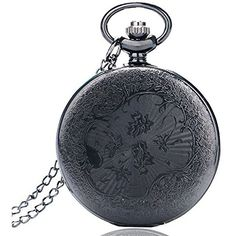 BestFire Pocket Watch Black Roman Retro Vintage Quartz Pocket Watch... ($9.42) ❤ liked on Polyvore featuring jewelry, watches, vintage jewellery, steam punk pocket watch, steampunk pocket watches, vintage wrist watch and vintage pocket watches