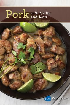 Pork with Chiles and Lime is where the flavor is at! Put this Mexican-inspired dish on the table for your crew with rice, potatoes or tortillas.