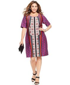 NY Collection Plus Size Short-Sleeve Mixed-Print Sheath Dress - Dresses - Plus Sizes - Macy's