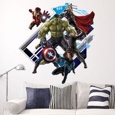 Fange DIY Removable 3D View The Avengers Captain America Art Mural Vinyl Waterproof Wall Stickers Kids Room Nursery Decor Decal Sticker 23.6''x23.6'' * Check this awesome product by going to the link at the image. (This is an affiliate link and I receive a commission for the sales)