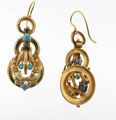 Victorian Turquoise Pearl Gold Dangle Earrings at 1stdibs