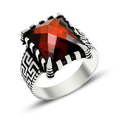 Beelogold - 925K Sterling Silver Zircon Men Ring