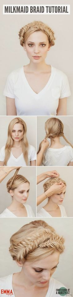 Milkmaid Braid tutorial by Confessions of a hairstylist for Emma magazine