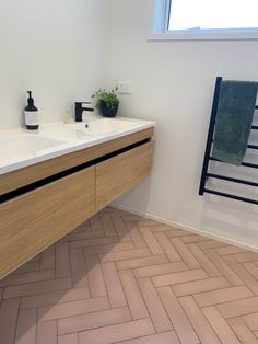 Ensuite bathroom with dusky pink / salmon subway tiles laid in herringbone style. Tiles from Tile Warehouse, double vanity from Newtech Tile Warehouse, Herringbone Tile Floors, Pink Tiles, Ensuite Bathrooms, Site Design, Bathroom Ideas, Subway Tiles, Flooring, Double Vanity